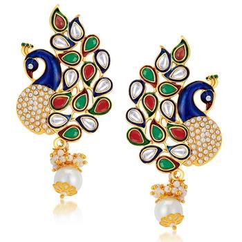 Charming Peacock Gold Plated Australian Diamond Earrings