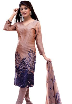 Fabdeal Tan Colored Crepe Jacquard Unstitched Salwar Suit