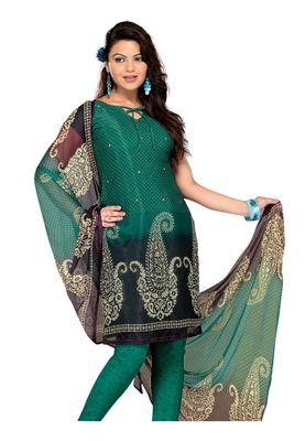 Fabdeal Sea Green Colored Chiffon Unstitched Salwar Suit