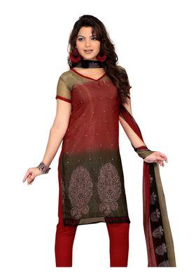 Fabdeal Crimson Colored Chiffon Unstitched Salwar Suit
