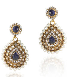 Buy Elegant Blue Pearl Polki Dangler v91b gifts-for-her online