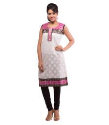 Buy White and Pink Chanderi plain kurti plus-size-kurtis online