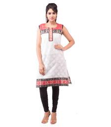 Buy White and Red Chanderi plain kurti plus-size-kurtis online