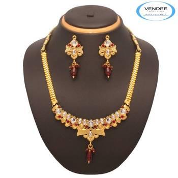 Trendy Maroon Necklace 7538