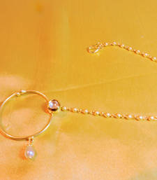 Buy kundan hoop nath with pearl string nose-ring online