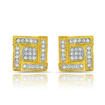 Mahi Gold Plated Dazzling Touch Earrings With CZ Stones