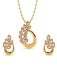 Buy Classic American Diamond Pendant Set With Chain Pendant online