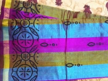 Multicolour cotton silk saree