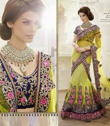 Buy multicolor Net and Brocade and Dupatta-Net Embroidered and Stone Work unstitched lehenga-choli lehenga-choli online