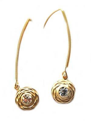 Golden AD Long Office Hanging Earrings