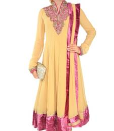 Buy yellow georgette plain semi_stitched salwar with dupatta anarkali-salwar-kameez online