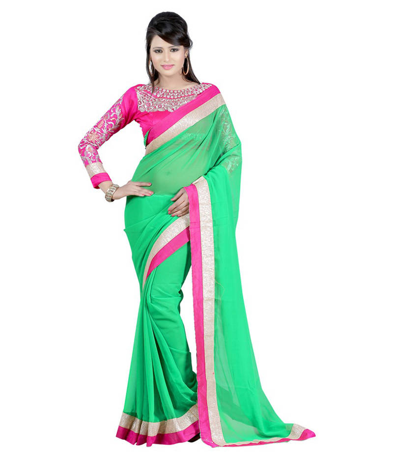 Buy Green And Yellow Embroidered Chiffon Saree With Blouse