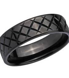 Buy Stainless Steel Black Criss Cross Ring for Men men-ring online