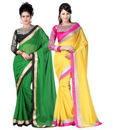 Buy Green and Yellow embroidered chiffon saree with blouse sarees-combo-sari online