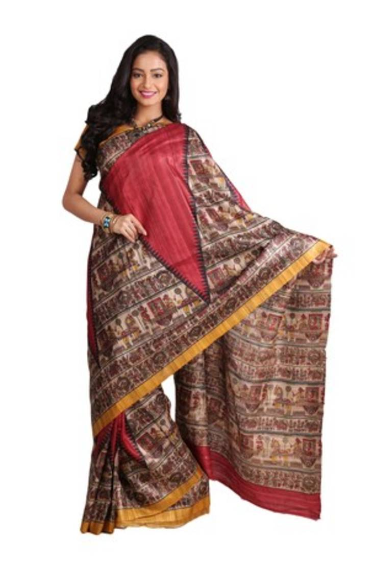 Buy Red Printed Raw Silk Saree With Blouse Online