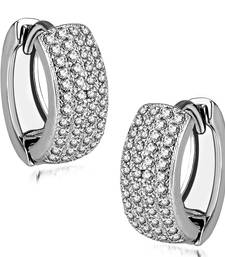 Buy Sterling Silver Duality Halo earrings with CZ stones hoop online