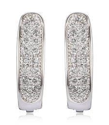 Buy Sterling Silver Gleaming Beauty earrings with CZ stones hoop online