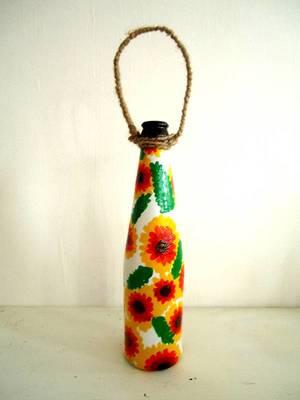 Handpainted bottle planters-Yellow and orange