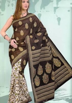 Sarees Mal Mal Cotton Designer Prints With Blouse Piece D.No D1007