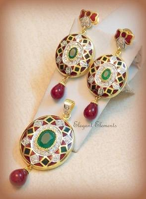 Hot sale!!! traditional ethnic multi-colored enameling with cz stones pendent set