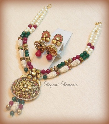 Classic and ethnic kundan colored stone jhumki necklace set