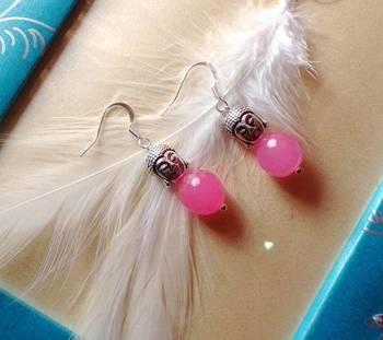 the buddha  earrings- baby pink-