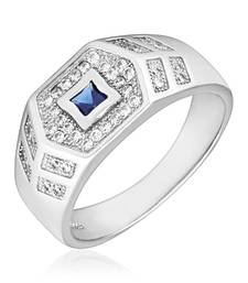 Buy Sterling Silver Hexa Blue Ring with CZ stones for Men Ring online