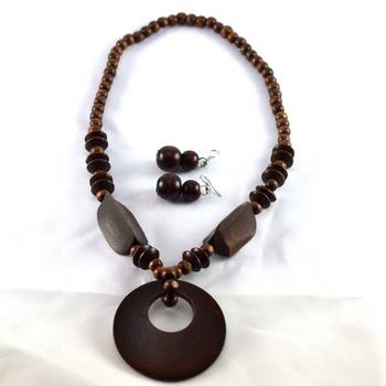 hand made wood strechable necklace with earing