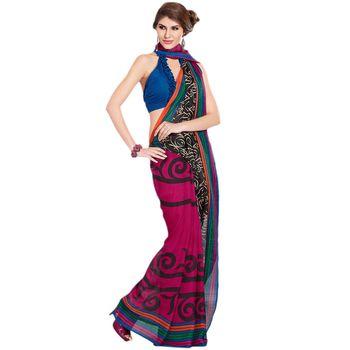 Hypnotex Jute Silk Pink Color Designer Saree Fig2311C