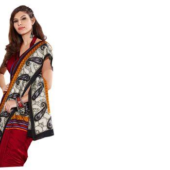 Hypnotex Bhagalpuri and Jacquard Maroon Color Designer Saree Fig2317D