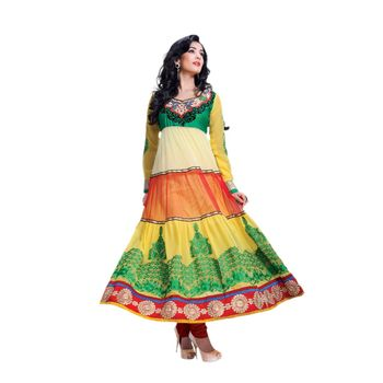 Hypnotex Georgette and Net Yellow and Cream and Red Color Designer Dress Material Model_Dobara1701A