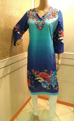 Blue-Purple Embroidered Floral Kurti