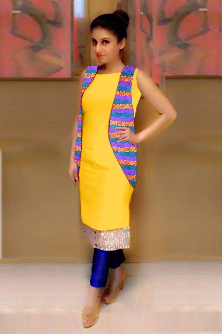 Buy Yellow plain art silk semi stitched salwar with dupatta Online