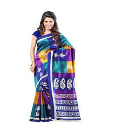Buy Dark Blue and Yellow and Black printed printed silk saree with blouse party-wear-saree online