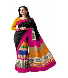 Buy Black and Pink and Yellow printed printed silk saree with blouse party-wear-saree online