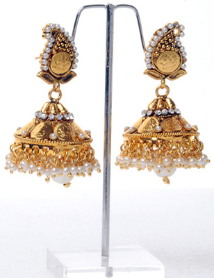 Traditional White Jhumkha Earring