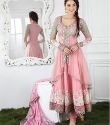 Buy Pink chanderi embroidered semi_stitched salwar with dupatta eid-special-salwar-kameez online