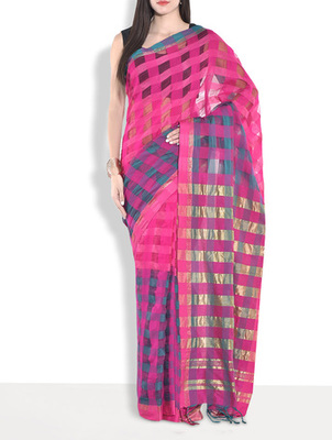 Pink hand_woven handloom saree with blouse