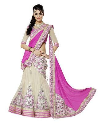 PInk georgette embrodari unstitched lehenga-choli