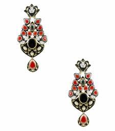 Buy Ruby Red Antique Victorian Dangle and Drop Earrings Jewellery for Women - Orniza Earring online