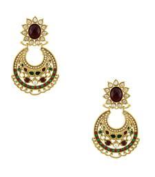 Buy Maroon Red Traditional Rajwadi Dangle Earrings Jewellery for Women - Orniza Earring online