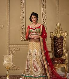 Buy Beige Net embroidered lehenga-choli net-lehenga online
