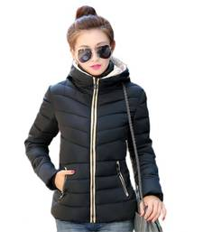 Buy Black Korean Pattern Leather Jacket girls-jackets-coat online