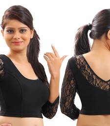 Buy Black velvet and lace stitched blouse readymade-blouse online