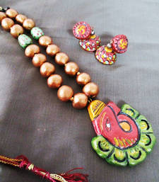 Buy Ganesh Terracotta Necklace With Jhumka terracotta-jewelry online