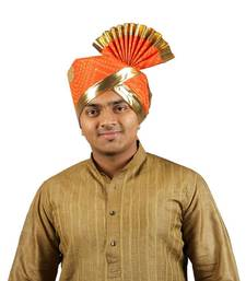 Buy eKolhapuri Orange Bandhani Print with Broad Plain Golden Border Polyester Pheta (Turban) turban online