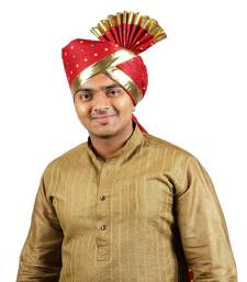 Buy eKolhapuri Maroon Bandhani Print with Broad Plain Golden Border Polyester Pheta (Turban) turban online