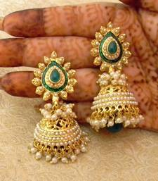 Buy Gorgeous Green Gold Plated Bandani Jhumka Earrings jhumka online