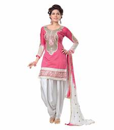 Buy Pink embroidered art silk semi stitched salwar with dupatta wedding-salwar-kameez online