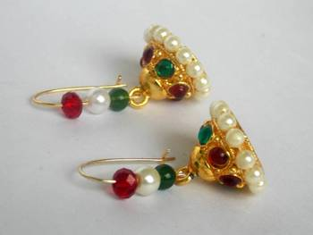 red,white and green jhumka